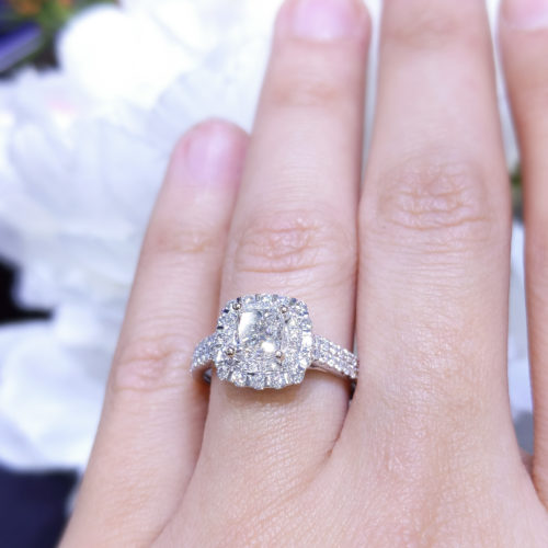 1.45ct Princess Cut Double Halo Diamond Engagement Ring