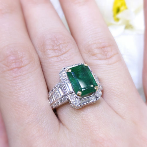 4.86ct Emerald Cut Halo Diamond 1.35ct Baguettes and Round Diamond