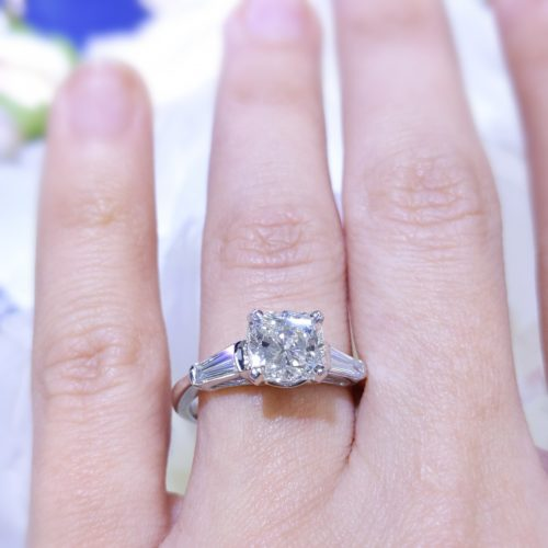 Certified Cushion Three Stone Baguette Sides 2.31ct Engagement Ring