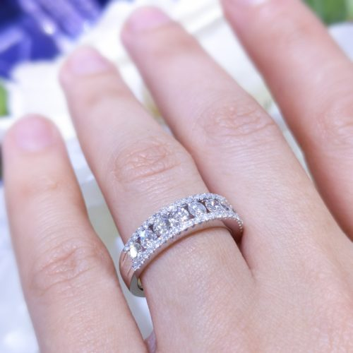 1.02cts In Diamonds Halfway Around Band Fashion Ring Or Wedding Band