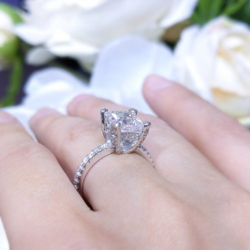 AGI Certified 2.92ct Princess Cut CE F VS2 In 14K WG Engagement Ring