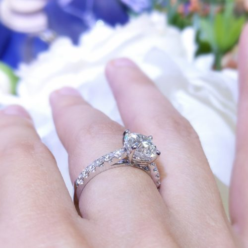 Certified 2.62 F SI1 Round 18K Engagement Ring